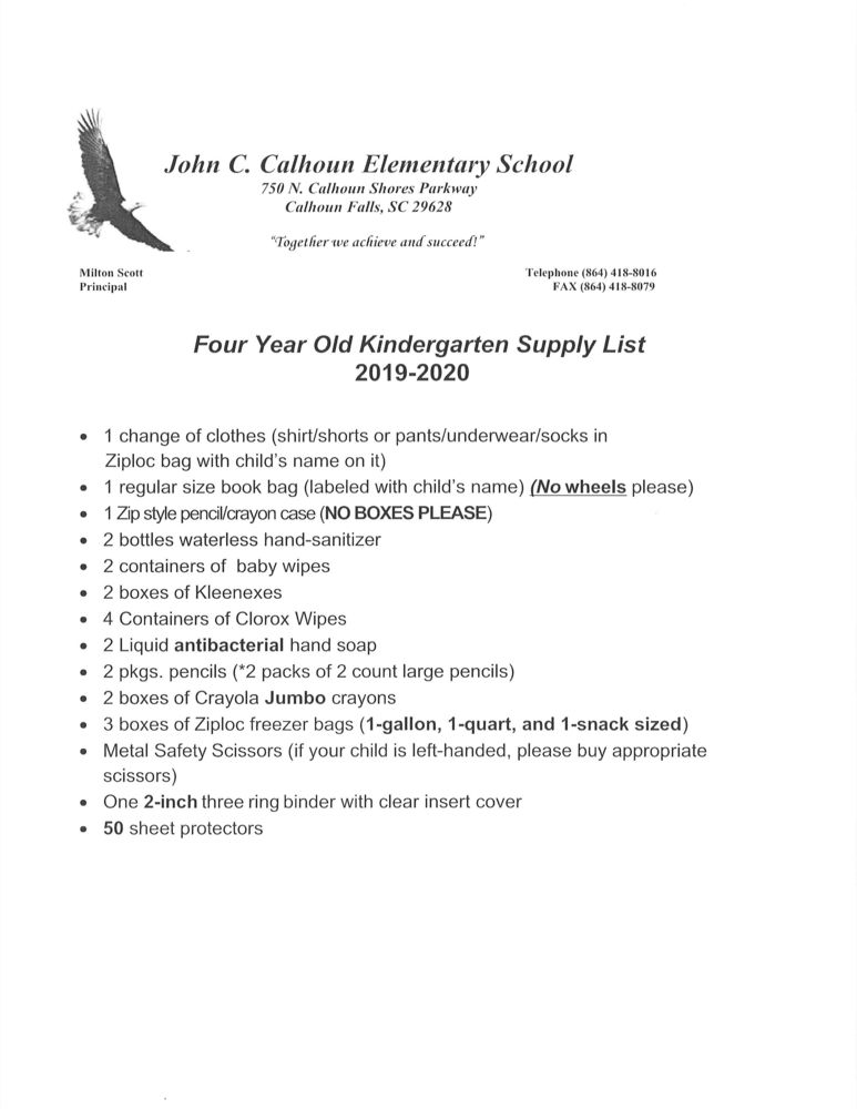 Four Year Old Kindergarten Supply List