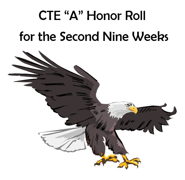 "CTE Recognizes Students Who Received All ""As"" on their Report Card for the 2nd 9 Weeks"
