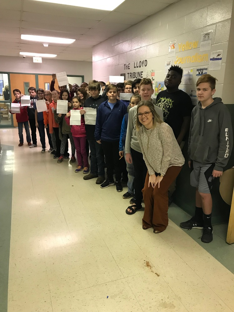 CTE Sixth Graders Display Letters From Senator Tim Scott