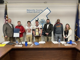 AHS Varisty Football Team Recognized at Board Meeting