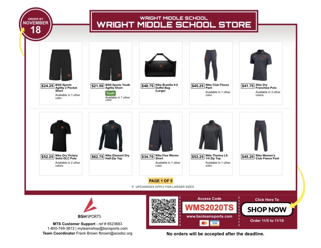 BSN Team Store Flyer Page 1