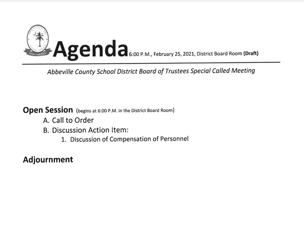 february 25th special called meeting agenda