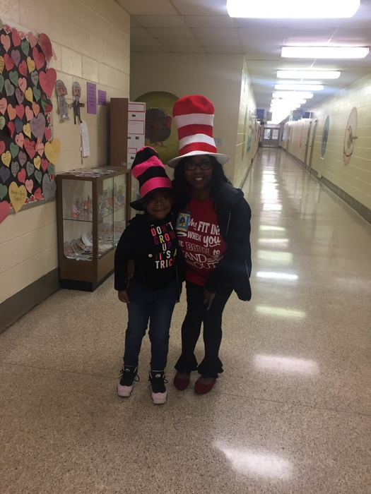"Ms. Smith says her Dr. Seuss ""Hello's"" to 4K student Elena P., who says ""They're twinsies"""