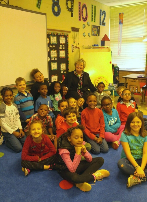 Dr. Hall reads to the second graders at JCCE during Read Across America Week