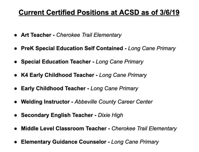 Current job vacancies at ACSD