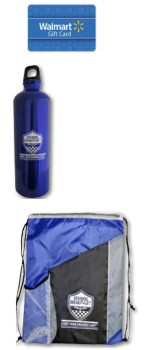 Gift card, water bottle, and drawstring bag