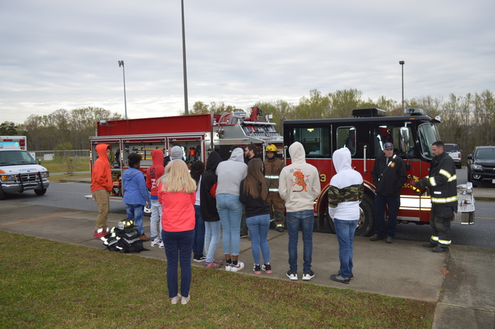 Career Center presents to WMS students about firefighting
