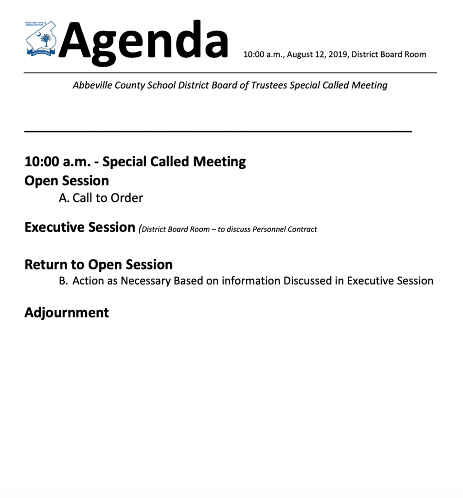 August 12 Special Called Board Meeting Agenda