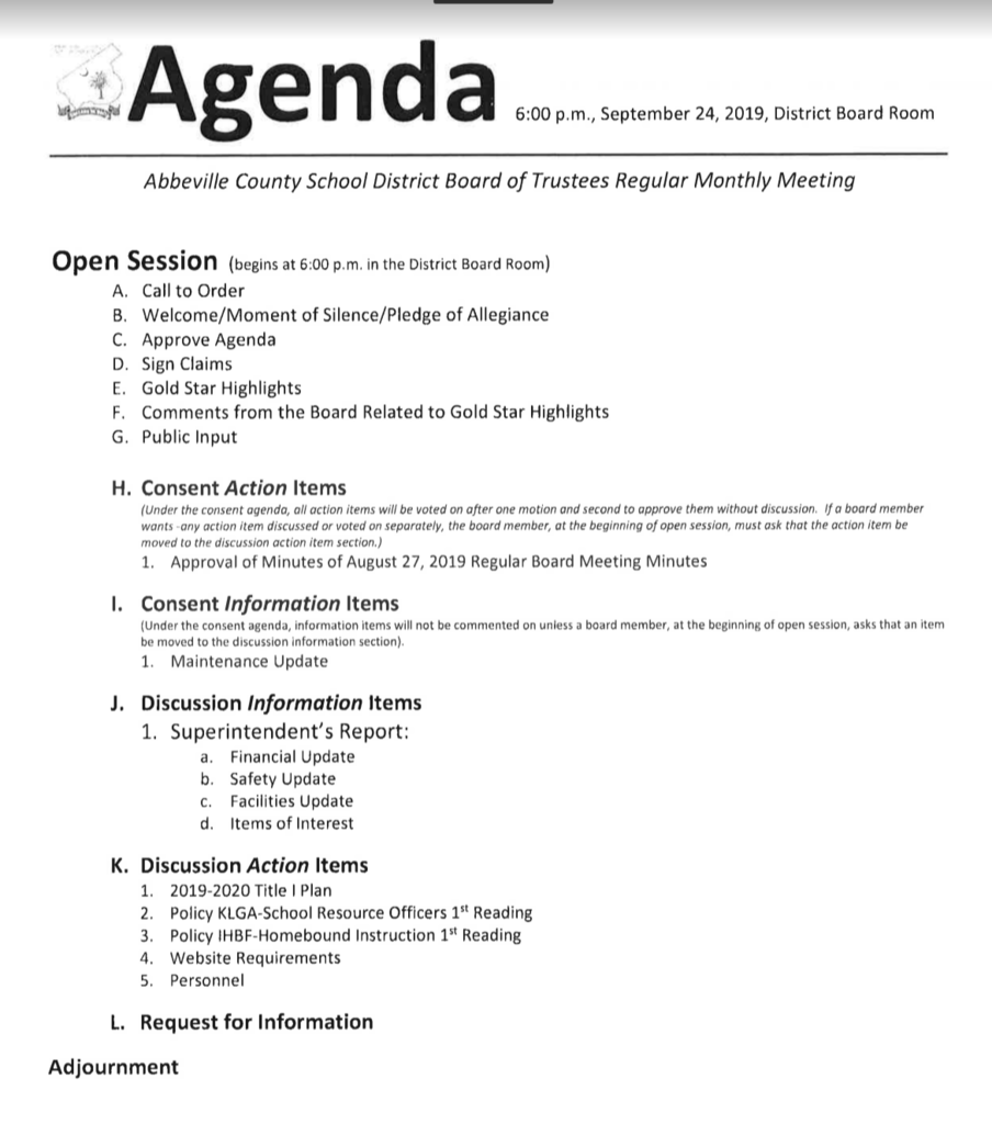 Board Agenda for September 24
