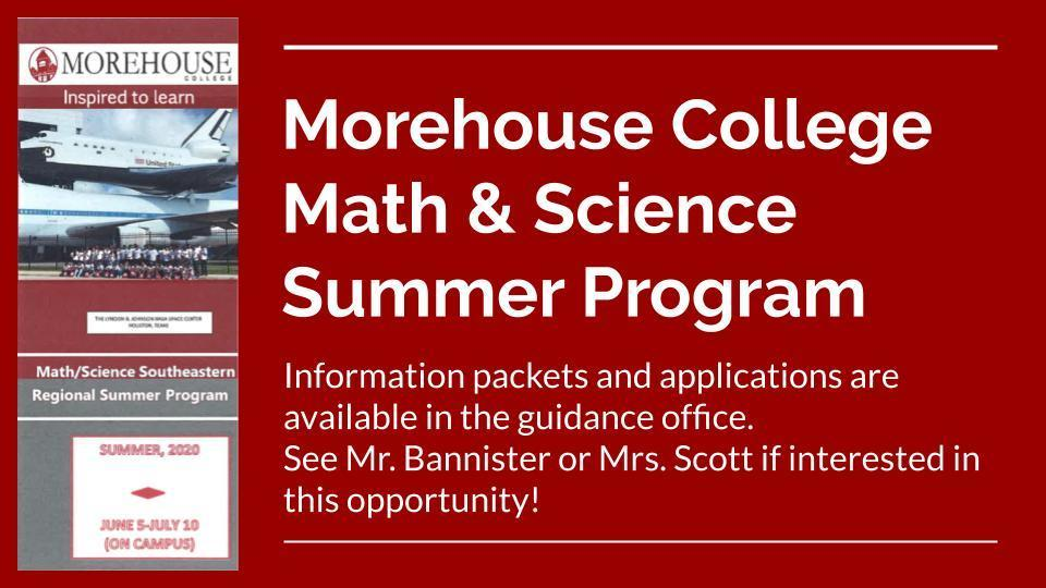 Morehouse College Summer Opportunity