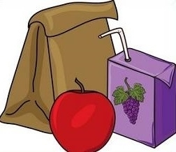 Lunch bag, apple, juice
