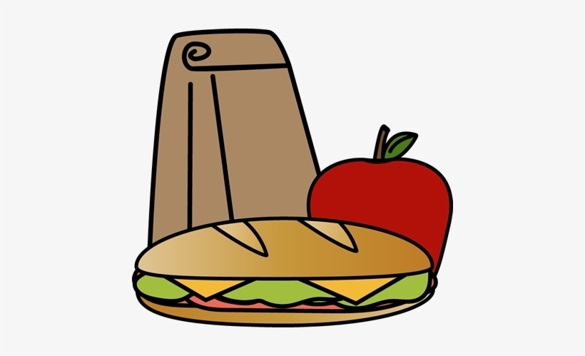 Lunch bag, sandwich, apple