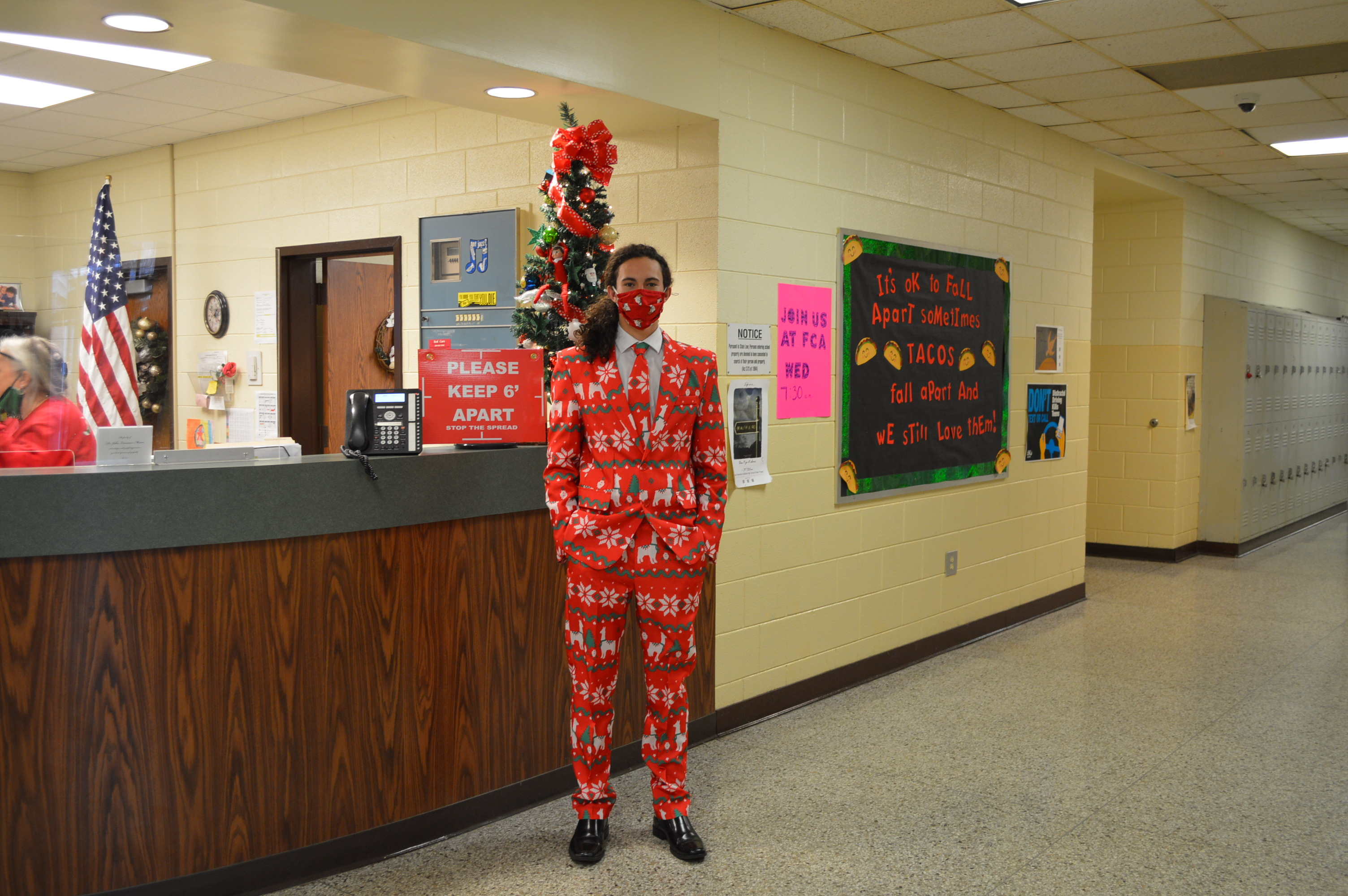 Student decked out in his holiday suit.